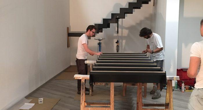 Scala Laser con gradini rivestiti in parquet 2
